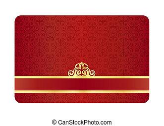 exclusivo, patrón, rojo, vendimia, floral, tarjeta