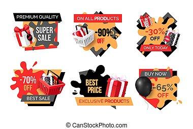 exclusivo, promoción, productos, especial, sellout
