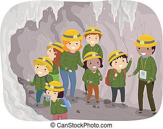 excursão, caverna, crianças
