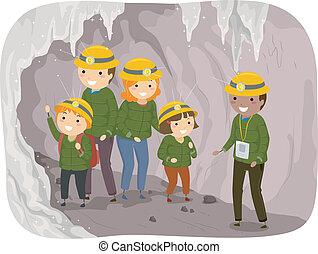 excursão, caverna, família