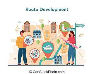 excursão, concept., turistas, guia, escutar, férias, história, cidade