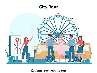 excursão, turistas, guia, férias, história, escutar, concept.