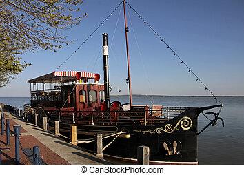 Excursion boat in Keszthely at the north shore of Lake Balaton, Hungary