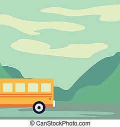 Excursion bus on highway. Tourist bus leaving the city vector illustration
