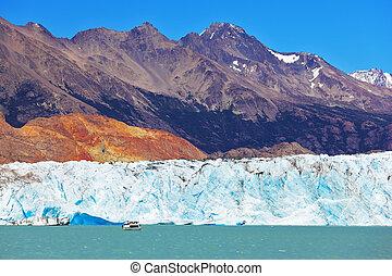 Excursion by boat to the huge white-blue glacier. Unique ...