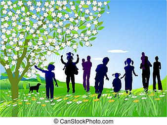 excursion, famille, arranger