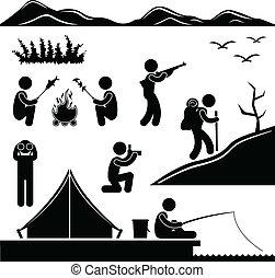 excursionismo, campo, selva, campamento, viajando arduamente
