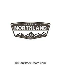 excursionismo, club, badge., explorador, aventura, campo,...