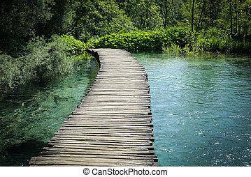 excursionismo, de madera, encima, agua, rastro, trayectoria,...
