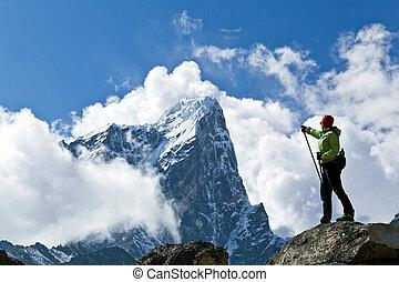 excursionismo, en, himalaya, montañas