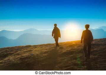 excursionismo, en, ocaso