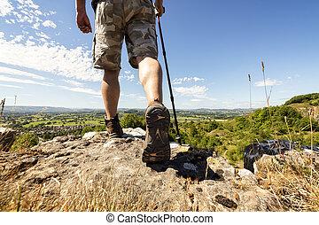 excursionismo, en, un, montaña, rastro