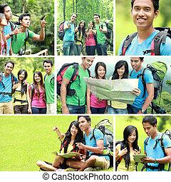 excursionismo, gente, /, viaje que acampa, juntos