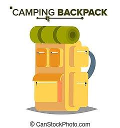 excursionismo, mochila, vector., turista, excursionismo, paquete espalda, con, sueño, bag., campamento, y, montaña, exploring., aislado, plano, ilustración