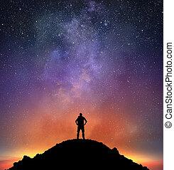 excursionist, luminoso, observar, céu