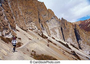 excursionista, cima, pase