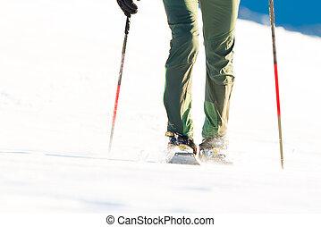 excursionista, en, invierno, montañas, snowshoening.