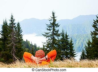 excursionista, montaña, el gozar, vista
