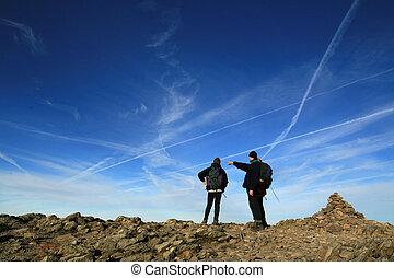 excursionistas, en, cumbre