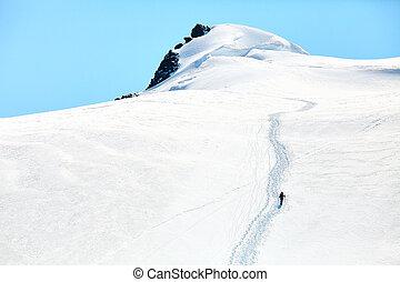 excursionistas, en la cima de, un, pase