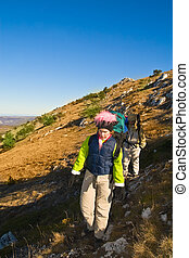 excursionistas, montañismo, el, montaña