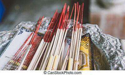 excursions, bouddhiste, encens, pagodes, close-up., smoldering, thaïlande, temple, temples