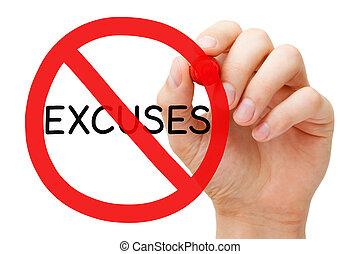 excusas, concepto, prohibición, señal