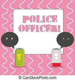 execução, polícia, officer., coloridos, bubble., bateria, texto, mostrando, equipe, dois, sinal, completamente, carregado, fala, oficial, demonstrar, foto, conceitual, lei, descarregado, emoji