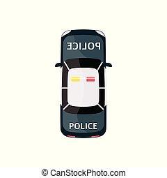execução, sirena, carro polícia, topo, isolado, caricatura, veículo, vista., lei, desenho