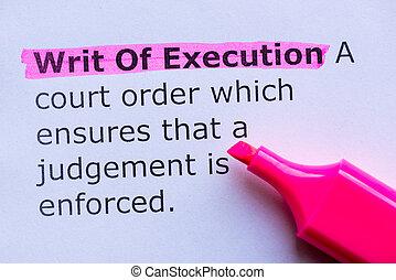 execução, writ