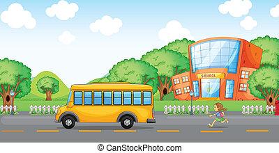 executando, autocarro, menina, escola, atrás de