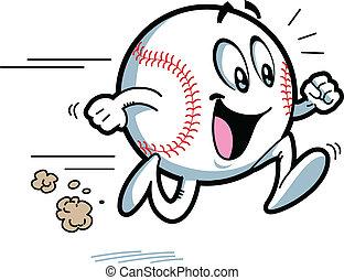 executando, basebol, feliz