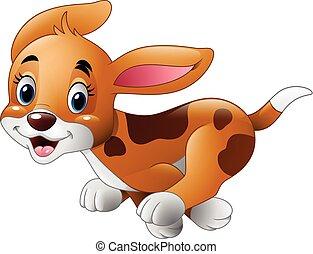 executando, cão, pequeno, caricatura