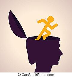 executando, cabeça, símbolo, human, homem