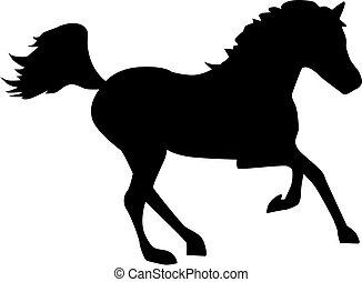 executando, cavalo, com, fluir, rabo