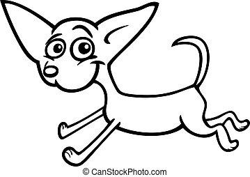executando, chihuahua, caricatura, para, coloração