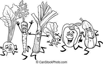 Executando, coloração, legumes, caricatura