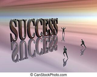 executando, competir, success.