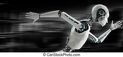 executando, conceito, velocidade, android, robô