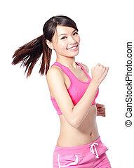 executando, condicão física, mulher esporte, sorrindo