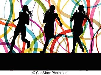 executando, condicão física, mulheres, sprinting