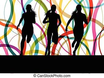 executando, condicão física, sprinting, mulheres