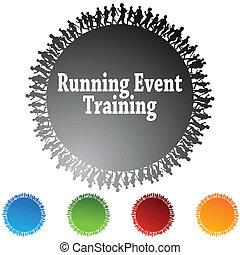 executando, evento, treinamento, círculo