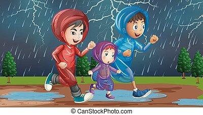 executando, família, chuva