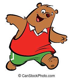 executando, feliz, caricatura, urso, tocando