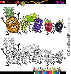 executando, frutas, caricatura, coloração, página