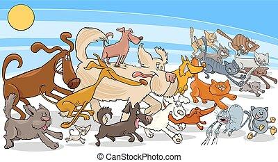executando, gatos, grupo, cão, caricatura