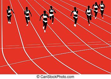 executando, grupo, corredores, mulheres