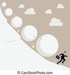 executando, homem negócios, afastado, bola neve, efeito
