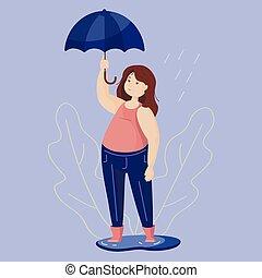 executando, image., guarda-chuva, abstratos, menina, experiência., isolado